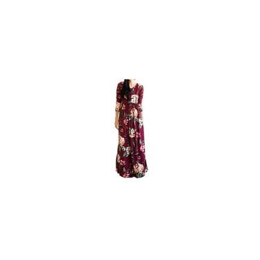Vestido feminino estampado floral 3/4 manga com bolso casual swing vestido longo plissado