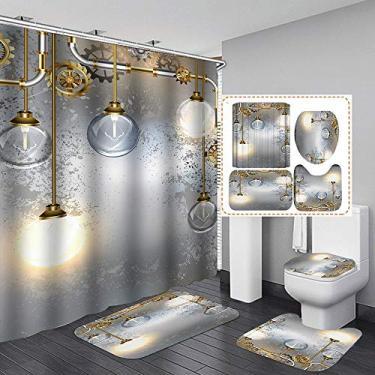 Imagem de Conjunto de cortinas de chuveiro com tema de lustre moderno europeu, conjunto de quatro peças, com tecido de gancho para decoração de banheiro, acessórios à prova d'água, decoração de casa, à prova d'água, lavável na máquina