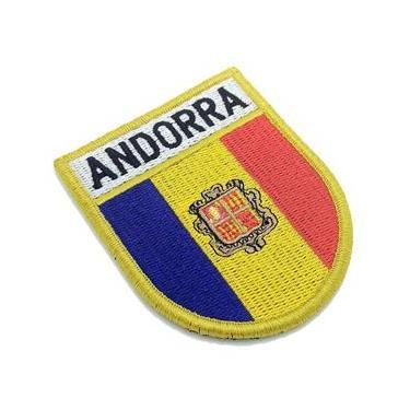 Bandeira País Andorra Patch Bordado Fecho Contato Gancho