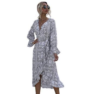 Imagem de YRCHENGLI Vestido feminino floral com decote em V e manga comprida com cinto na cintura, saia midi, vestido floral feminino, cintura mais fina, branco