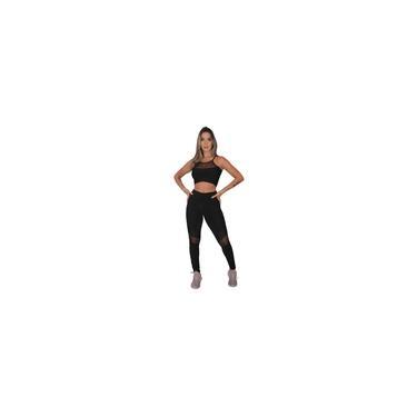 Imagem de Conjunto Feminino Fitness Feminino Calça Legging e Top Transparência