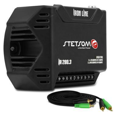 Módulo Amplificador Stetsom Iron Line IR280.3 280W RMS 3 Canais 2 Ohms Digital + Cabo RCA 4mm 5m