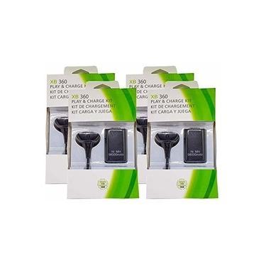 Kit 4 Baterias Carregadores Play/charge Controle Xbox 360