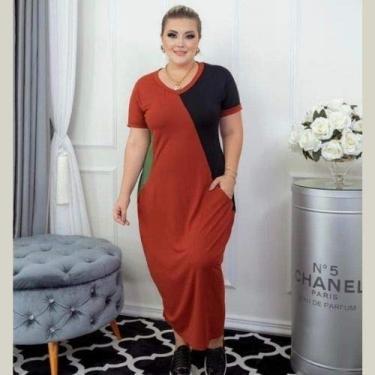 Vestido Viscolycra Longo Saruel Com Bolso 3 Cores Plus Size (terracota, Único)