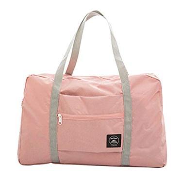 Imagem de Grey990 Bolsa esportiva grande dobrável para viagem e armazenamento de bagagem, bolsa à prova d'água, rosa