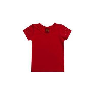 Blusa infantil menina em Cotton vermelho kyly