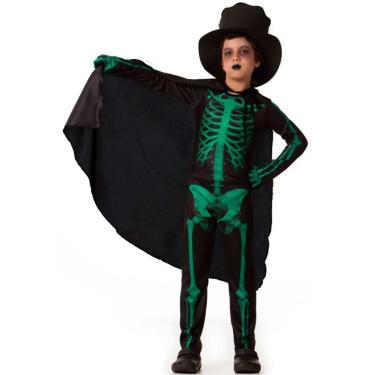 Fantasia de Halloween Esqueleto Infantil Com luva Capa e Chapéu - P 2 - 4 a9f77a4addc