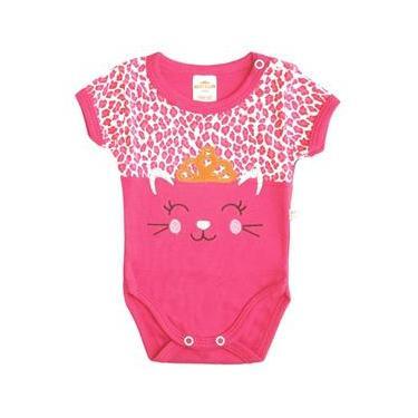 Body Bebê Menina Manga Curta Rosa Pink Oncinha Princesa 73610e33da041