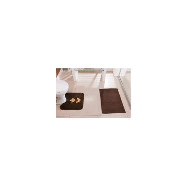 Imagem de Jogo de Tapetes Banheiro Antiderrapante Tulipa 2 Peças Tecido Pelúcia e Atoalhado Tabaco