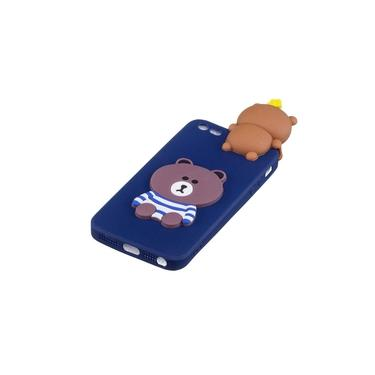 Para iPhone 5 / 5S / SE 3D animal bonito TPU anti-risco dos desenhos animados anti-derrapante caso capa protetora Voltar
