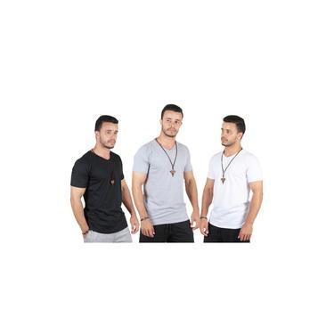 Kit com 3 Camisa Blusa Camiseta Masculina Gola V Basicas