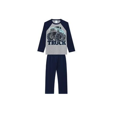 Pijama Kyly Longo Infantil Monster Truck Cinza/Azul-Marinho Brilha no Escuro
