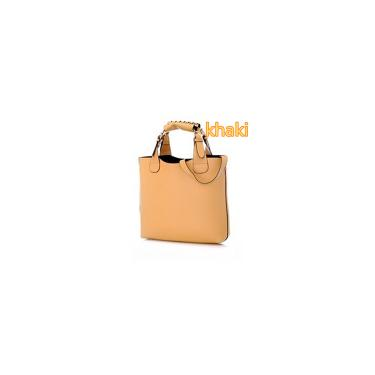 Bolsa feminina de couro bolsa de ombro bolsa mensageiro bolsa bolsa de compras cáqui