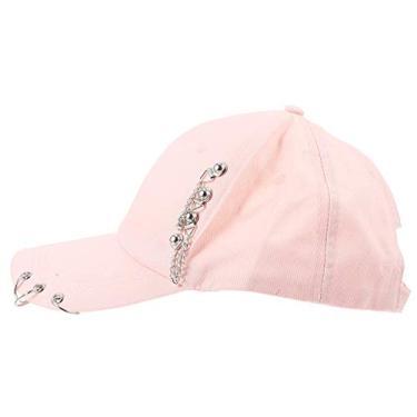 ABOOFAN Boné de Beisebol Com Design de Corrente Boné Hip-Pop Pontiagudo de Algodão Chapéu de Sol Ao Ar Livre para Mulheres E Homens (Rosa 55-59 Cm)