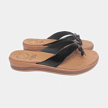 Sandália de Dedo Malu Super Comfort Núbia Feminino Preto 34