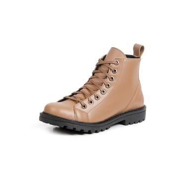 Bota Coturno Casual Touro Boots Feminino Bege