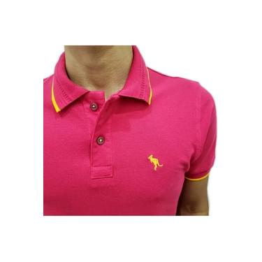 Camisa Polo Salth Rosa Friso Amarelo