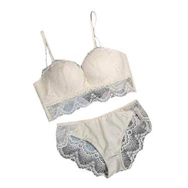 Doufine – Sutiã feminino transparente clássico tipo babydoll com conjunto de calcinhas push up delicadas, Nude, 38B(85B)