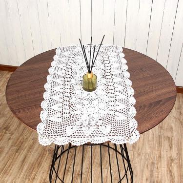 Imagem de vanyear Toalha de mesa retangular rústica de crochê floral toalha de mesa de algodão bege 38 x 70 cm