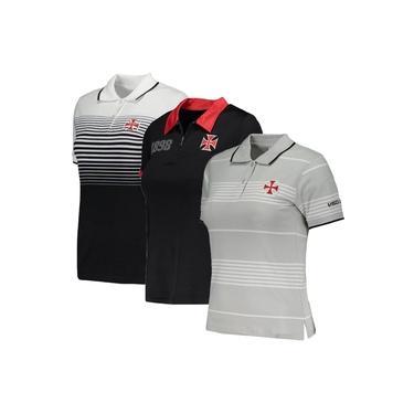 Kit C/ 3 Camisas Polo Femininas Baby Look Vasco da Gama Algodão + Poliéster