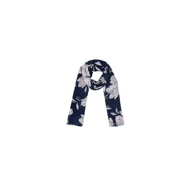 Echarpe Azul Com Floral Branco Algodão 180X90 Cm