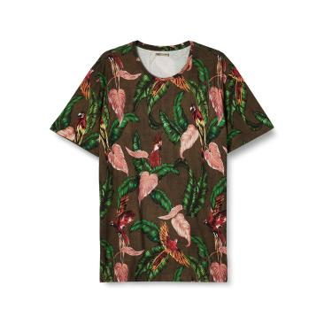 Colcci Camiseta Slim Full Print: Tropical, P, Verde/Preto/Rosa/Laranja/Amarelo/Roxo/Bordo/Cinza/Bege