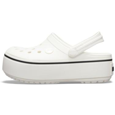 Sandália Crocs Crocband Platform Clog GS Cinza Branco  menina