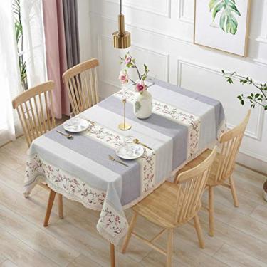 Imagem de Toalha de mesa de cozinha retangular toalha de mesa de jardim, listras, flores, renda, toalha de mesa de algodão e linho, cinza, 140 x 250 cm