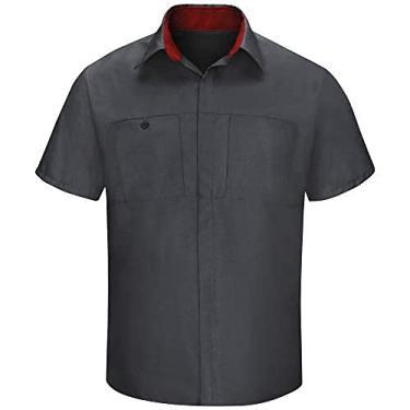 Imagem de Camisa masculina Red Kap manga curta Performance Plus Shop com tecnologia OilBlok, Charcoal With Fireball Red Mesh, XX-Large Tall