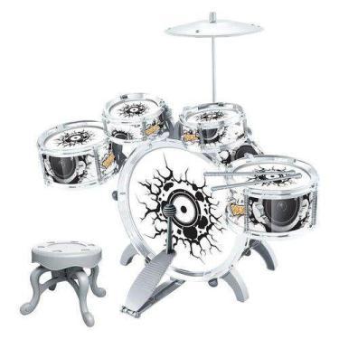 Imagem de Bateria Musical Infantil Brinquedo Instrumento Rock Party Star Com Ped