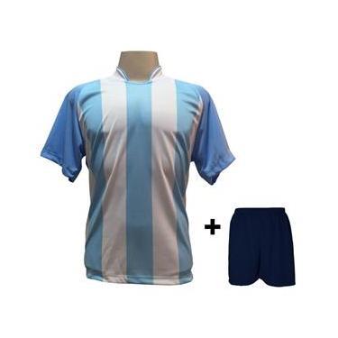 Uniforme Esportivo com 18 Camisas modelo Milan + 18 Calções modelo Madrid Marinho