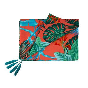 Lenço canga tecido floral detalhe tassel único  Laranja