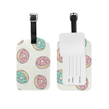 Etiqueta Cooper Girl Coloful Donut Sweet Luggage Tag Viagem Identificação Couro para Mala de Bagagem 1 Peça