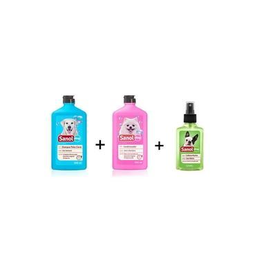 kit completo banho cães: Shampoo para Cães Pelos Claros + Condicionador Revitalizante + Perfume colônia Machos - Sanol Dog