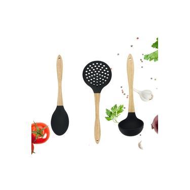 Kit Utensílios de Cozinha em Silicone com Cabo em Madeira 3 Peças Colher Concha Escumadeira Elegante