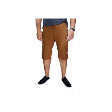 Bermuda Casual Sarja Slim Caramelo Masculina Bolso Faca Frente e Embutido atrás