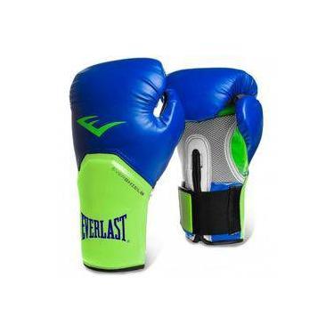 ec035a503 Luva Boxe Everlast pro Style Elite Training 14 Oz Azul com Verde