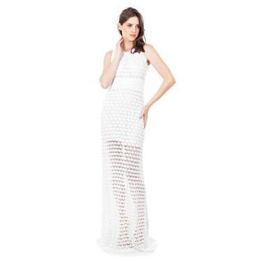 Tricô Vestido Longo de Tricot Bella Store Renda Rodado Feminino Cor:Branco;Tamanho:Único;Gênero:Feminino