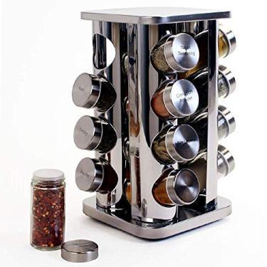 Imagem de Porta condimentos e temperos em inox 16 potes prata base giratoria grande luxo carrosel 17 peças