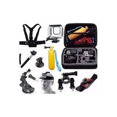 Kit 8 Black Estanque Mala Grande Guidao Pulso 360º Ventosa Peitoral Cabeça Boia Pau De Selfie Tripod