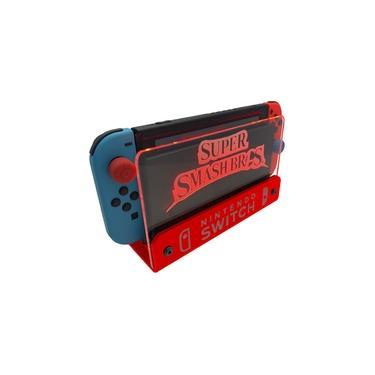 Suporte Bancada/Parede Nintendo Switch Iluminado - Smash Bros - Base Vermelho LED Vermelho