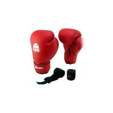 Kit Luva Boxe Muay Thai Prospect Mks Combat Vermelho + 1 Bandagem Preto 2 50d307f773279