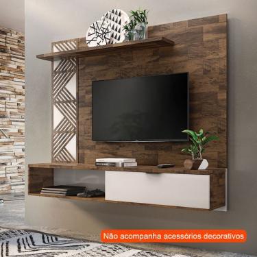 Painel para TV até 50 Polegadas Grid Marrom Deck e Off White