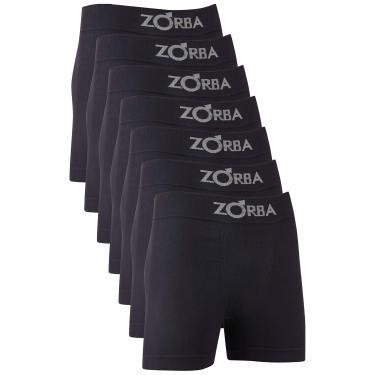 Zorba Kit 6 Cuecas Boxer sem Costura Masculino, Tam P, Preto