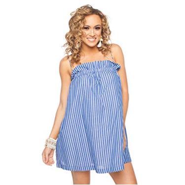 Imagem de Vestido feminino da BuddyLove, ombro de fora, azul e branco, listrado, rodado, curto, vestido tesouro, azul marinho, Azul, X-Small