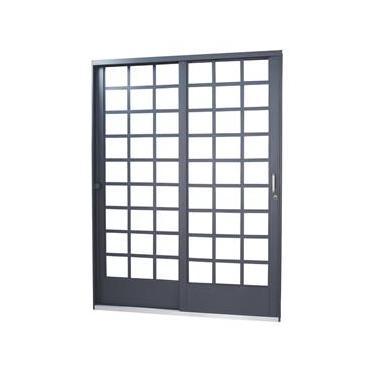 Porta de Correr Quadriculada em Aço 2 Folhas 1 Fixa MGM Carrara 2,15mx1,60m - Requadro 12cm Primer Esquerda