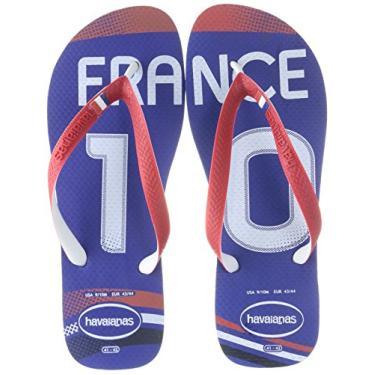 Chinelo Havaianas Unissex Teams II França Azul Com Vermelho