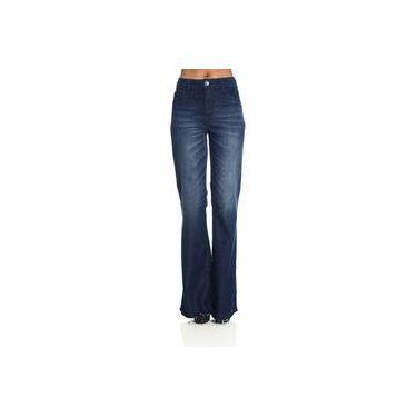 Calça Jeans Feminina Flare com Barra Desfiada Be Red 21200498