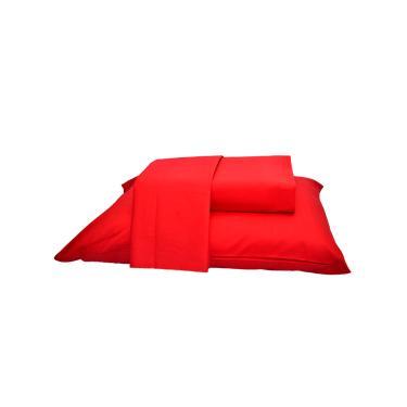 Imagem de Jogo de Cama Queen Size Vermelho  4 Peças Percal 400 Fios 100% Algodão