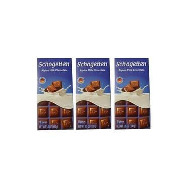 Kit 3 Barras Chocolate Alemão Aoleite Alpino Schogetten 100g